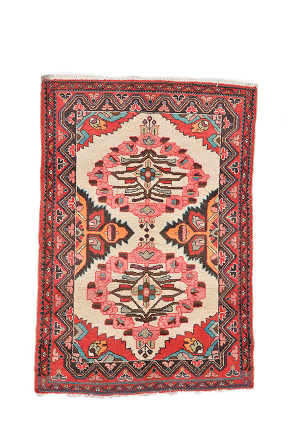 Pink Turquoise Boho Rug | 3 x 5 Feet | Hand Knotted Area Rug | Bright Colorful Rug | Wool Antique Caucasian Rug