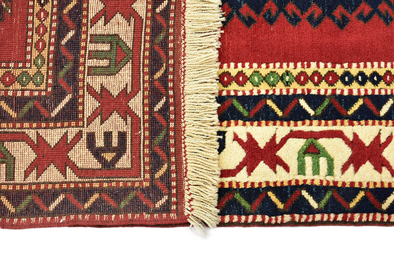 Red Kazak Turkish 6x9 Rug Wool Rug | Antique Tribal Geometric Rug | Oriental Rug | Handmade Wool Rug