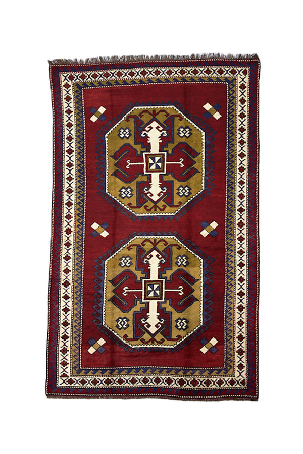 Red Beige Kazak Turkish Rug | 6 x 10 runner rug | Wool Rug | Antique Tribal Rug | Octagon Medallion Geometric Rug | Antique Oriental Rug
