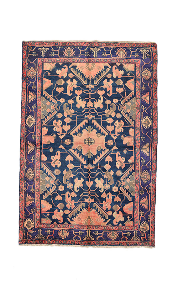 Pink Blue Vintage Rug | Floral Geometric Rug | Persian Oriental Rug | Accent Rug | 4 x 6 Ft | Boho Eclectic Rug | Wool Hand Knotted