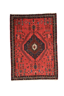 Vintage Red Rug | 5 x 7 Rug | Antique Hand Knotted Rug | Oriental Persian Turkish Rug | Bright Rug | Medallion Rug |
