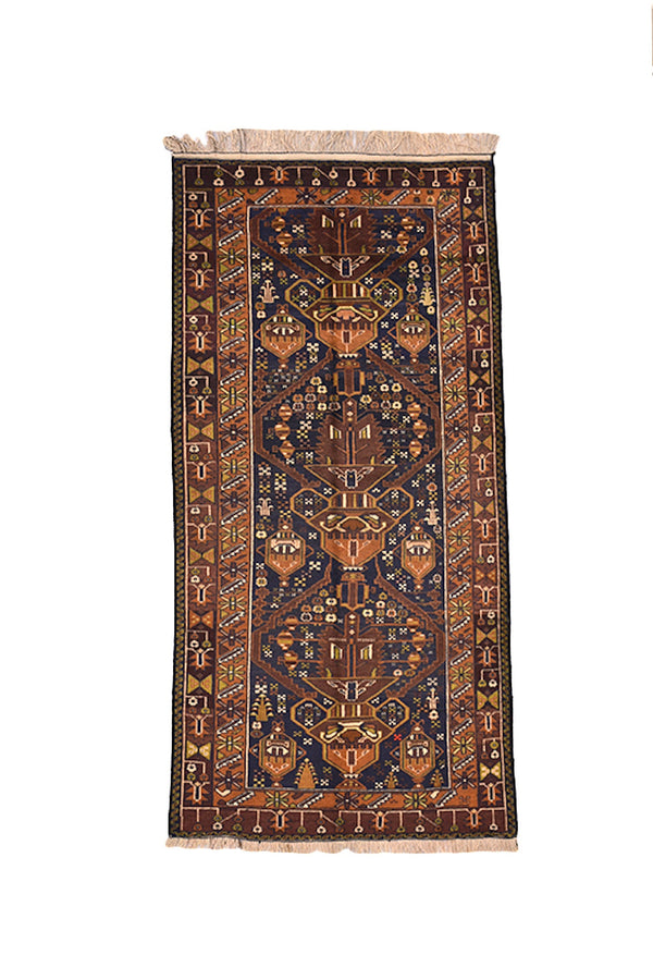 Bohemian Vintage 4 x7 Rug | Black Brown Green Rug | Afghan Tribal Rug | Persian Style | Wool Hand Knotted | Long Rug