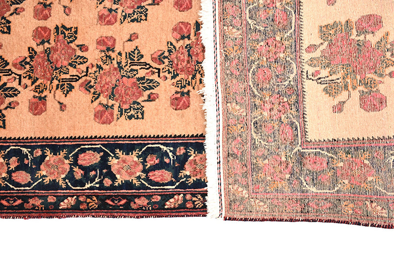 Floral Persian 5x7 Pink Navy Vintage Rug | Wool Medium Pile Rug | Farmhouse Style Rug | Antique Wool Area Rug