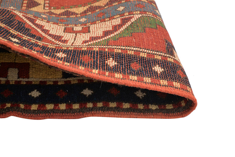 Vintage Kazak  5x8 Red Tribal Rug Green Accents | Geometric Pattern | Wool Handmade Antique Rug