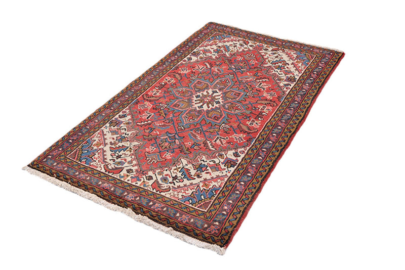 7 Feet x 4'7 Feet | Vintage Oriental Rug | Pink Red Medallion | Blue Border | Boho Chic Rustic Rug | Accent Rug | Wool Antique Rug
