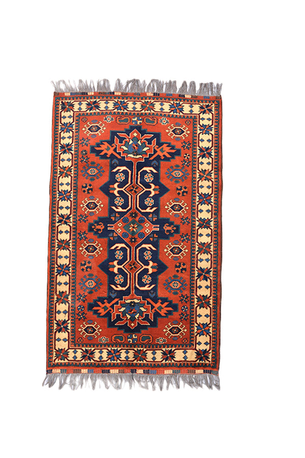 Vintage Hand Knotted  5x6 Area Runner Rug | Persian Turkish Kazak Rug | Geometric Navy Medallion | Wool Antique