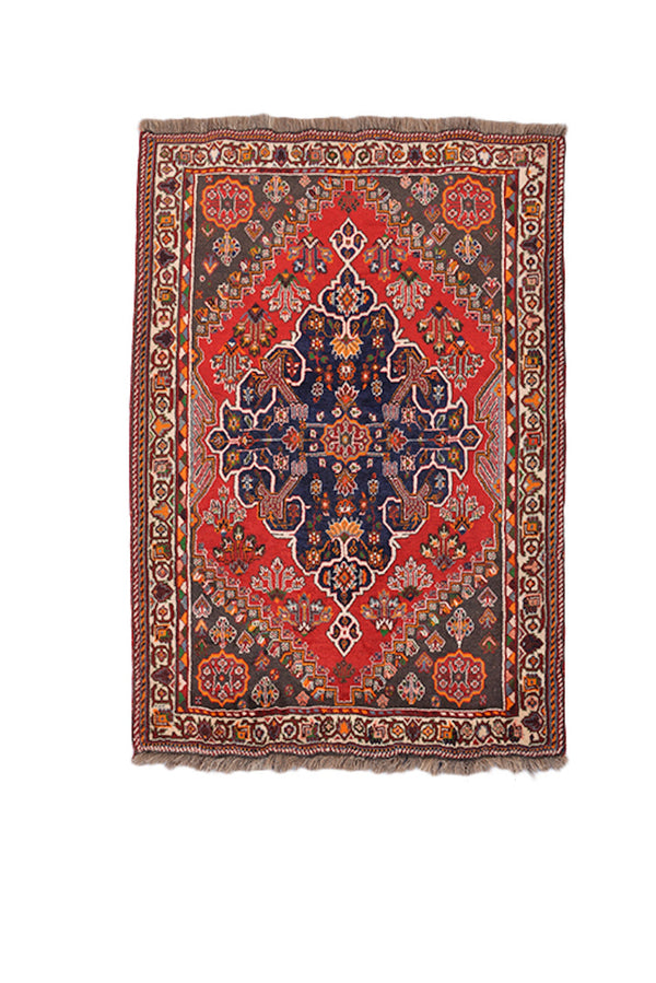 Medallion Antique Area Rug | Handmade Persian Rug | Red Navy Rug | Tribal Oriental | 5 x 6 Feet | Deep Rustic Colored Rug