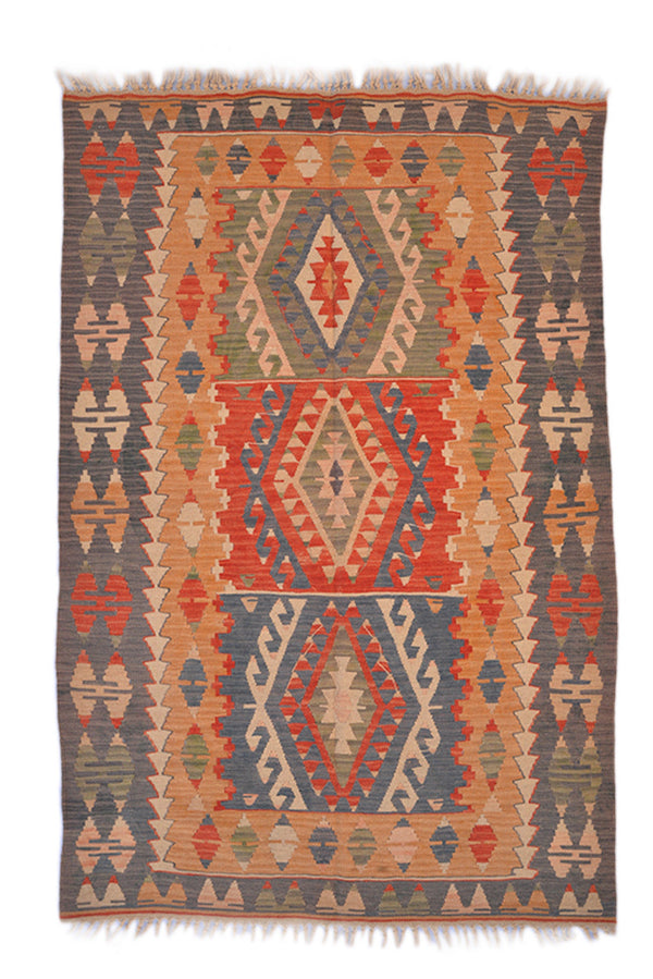 Red Turkish Kilim Rug | Bohemian Flatweave Rug | 4 x 6 ft Area Rug | Hand Knotted Rug | Vintage Tribal Rug | Colorful Area Rug