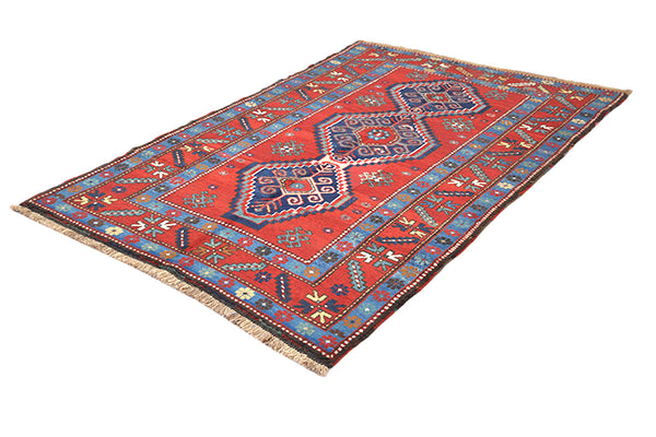 Red Blue Vintage Rug | Kazak Handmade Rug | 4 x 6 Ft | Geometric Tribal Rug | Antique Rug | Wool Boho Rustic Style