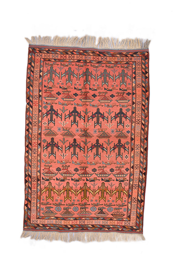Coral Pink Orange Rug | Geometric Airplace Motif | 3 x 5 Ft | Grey Pattern | Blue Grey Border | Tribal Wool Rug
