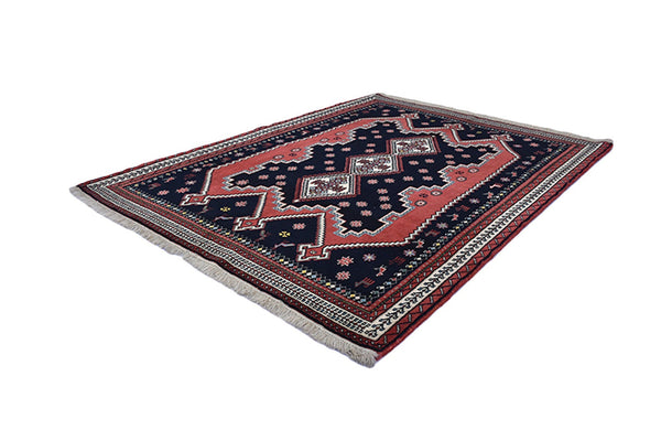Black Red Geometric 3x5 Rug | Boho Tribal Rug | Vintage Area Rug | Turkish Persian Antique Rug