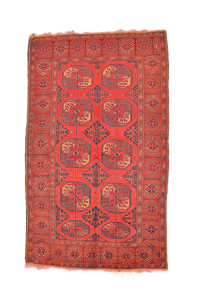 Antique Hand Knotted 4x6 Rug, Bright Red Navy Tribal Medallions, Low Pile Wool