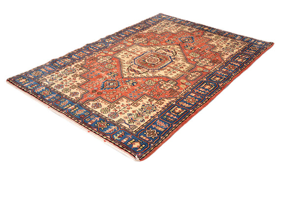 6.6 x 4.6 Feet, Blue Orange Medallion Rug, Handmade Area Rug, Oriental Persian Caucasian Rug, Rustic Colored Rug, Wool Tribal Vintage