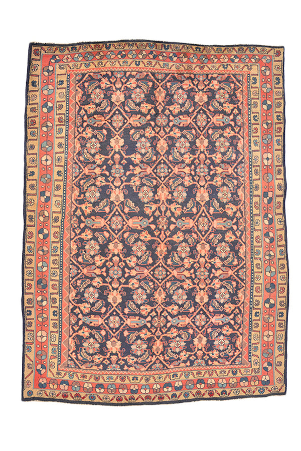Navy Orange Floral Persian Rug | Colorful Area Rug | Geometric Border | 5 x 7 Feet | Oriental Boho Rug | Wool Antique Rug