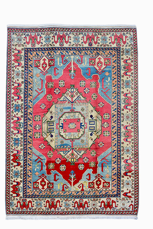 Large Red Blue 9 x 12 Vintage Area Rug | Kazak Hand Knotted Rug | Blue and Red Wool Rug | Tribal Boho Large Area Rug