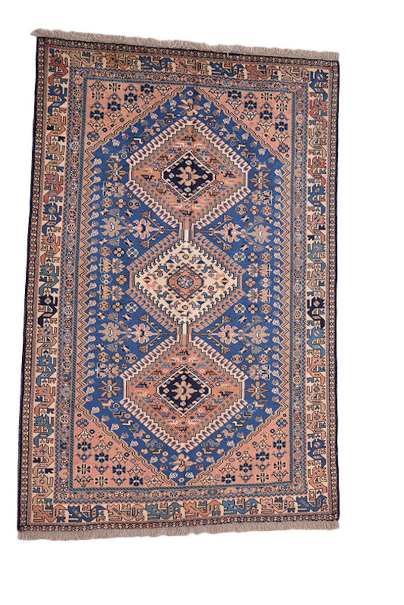 Coral Blue Rug | Vintage Area Rug | Persian Style Geometric Rug | Kitchen Rug | 3x5 Rug | Wool Rug Antique Hand Knotted