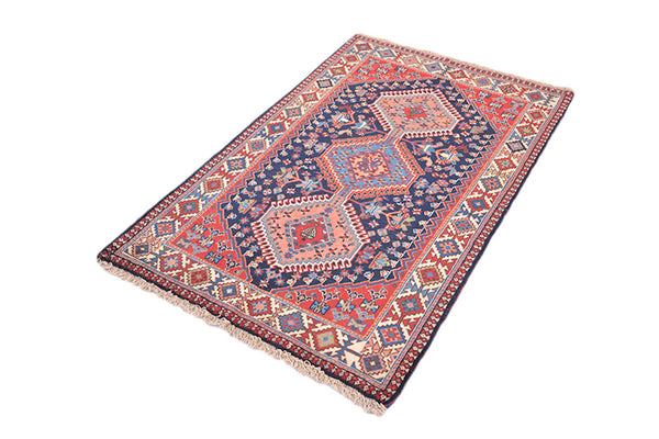Vintage Bohemian Rug | Hand Knotted Antique | 3 x 4 Ft Rug | Geometric Tribal Ikat Rug | Persian Turkish Rug | Wool Area Rug