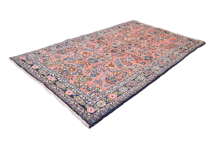 Coral Hand Knotted 6.8 x 4.1 ft Rug | Antique Area Rug | Persian Rug Style | Blue Ivory Accent Floral | Wool Rug | Area Rug