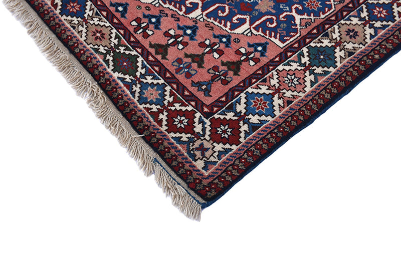 Blue Pink Rug | Bohemian Style | Rustic Vintage Rug | 3x5 ft | Hand Woven Area Rug | Wool Rug | Decor Rug