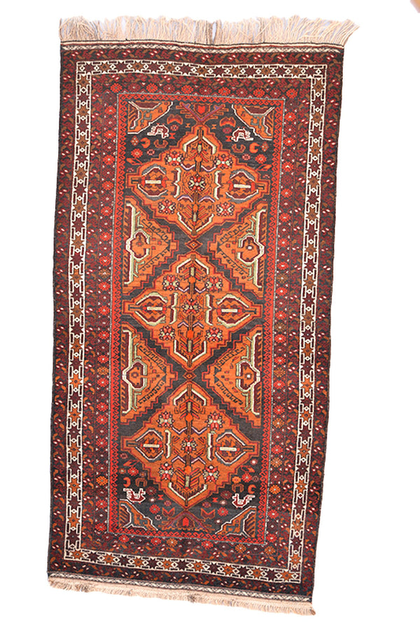 Tribal Vintage Rug | 6.9 x 3.9 Ft - 210 x 118 cm | Orange Red Brown Rug | Nomadic Oriental Rug | Accent Kitchen Runner Rug | Wool