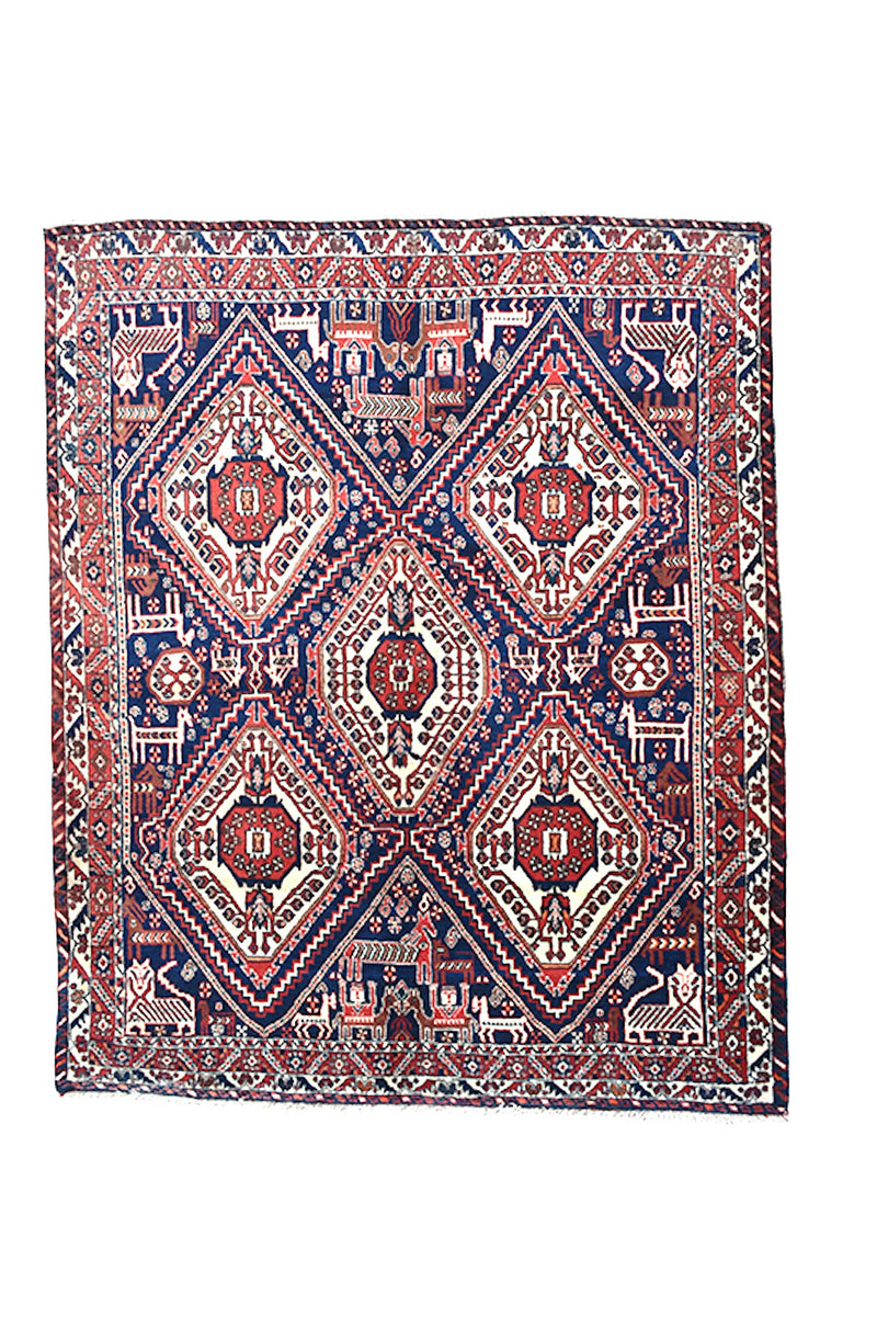 Navy Vintage Rug | Geometric Tribal Rug | Red and Blue Hand Knotted Rug | 4 x 6 Area Rug | Bohemian Decor | Wool Authentic Rug
