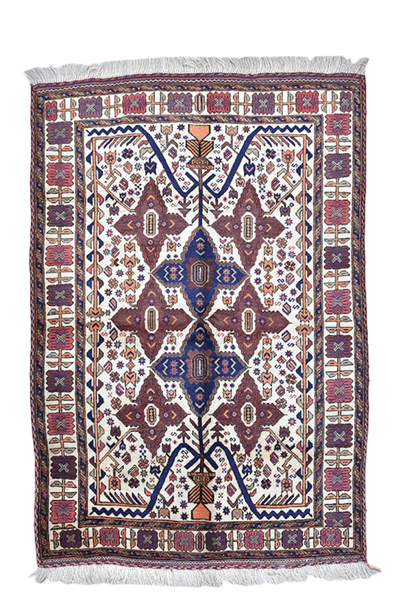 Ivory Handmade Rug | Blue Red Geometric Pattern | Vintage Area Rug | Afghan Persian Turkish Rug Shop | 4x6 ft Wool