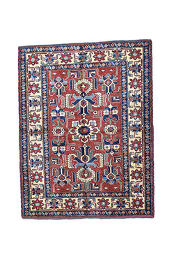 Blue Red Vintage 4 x 5 Area Rug | Floral Rug | Tribal Motif Medallion Oriental Rug | Antique Rug