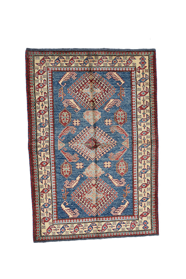 Tribal Area Rug 3 x 5 Hand Knotted Blue with Beige border made with Wool | Rustic Home Decor Style