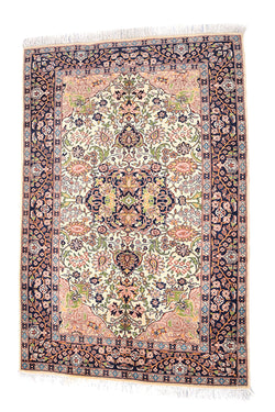 Oriental  6 x 4 Feet Handmade Rug, Antique Rug, Beige with Black Pink Border, Central Persian Medallion