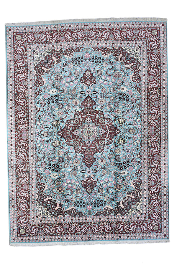 Pure Silk Handmade 9 x 12 ft Rug | Handwoven Area Large Persian Style Kashmiri Rug | Soft Pile | Light blue and Red Antique Rug
