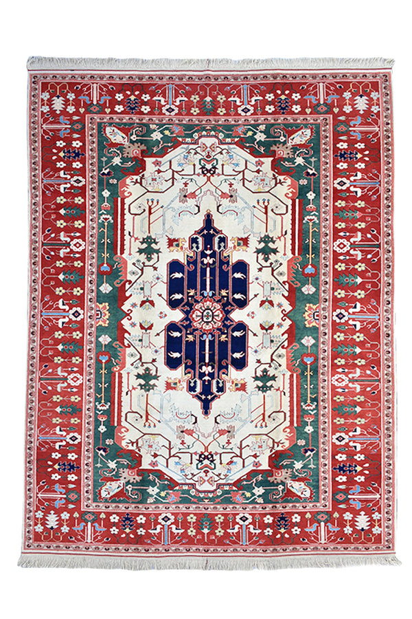 Turkish 9x11 Large Kazak Vintage Rug | Blue Green with Bright Red Border | Antique Oriental Rug | Tribal Geometric Living Room Rug