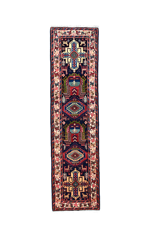 Bright Coloful 3x12 Runner Persian Rug | Long Runner Rug | Red Teal Pink Beige | Wool Hand woven Antique | Geometric Tribal Boho Style