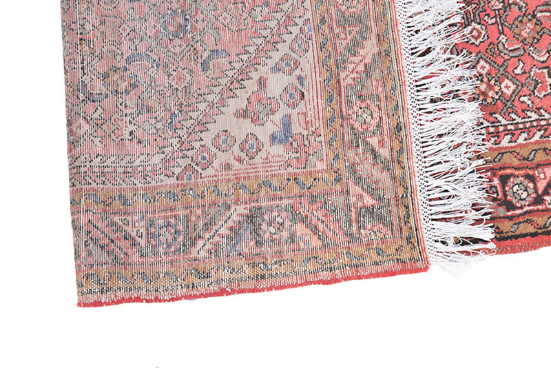 Coral Orange Persian Rug | 5x7 Rug | Hand Knotted Area Rug | Medium Soft Wool Pile | Antique Rug