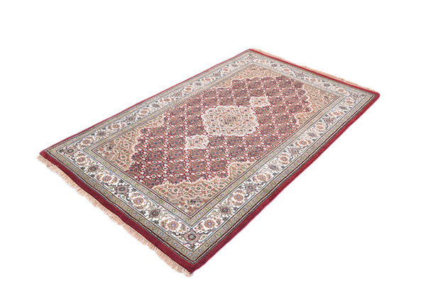 Oriental Handmade Rug | 3x5 Rug | Traditional Persian Pakistan Style | Red Beige Rug | Medallion Wool Rug