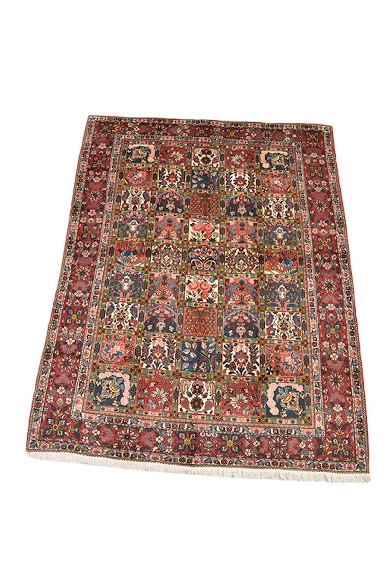 Multicolor Handmade 6x9 Area Rug, Floral Persian Style Area Rug, Antique Hand Knotted Rug, Wool Rug