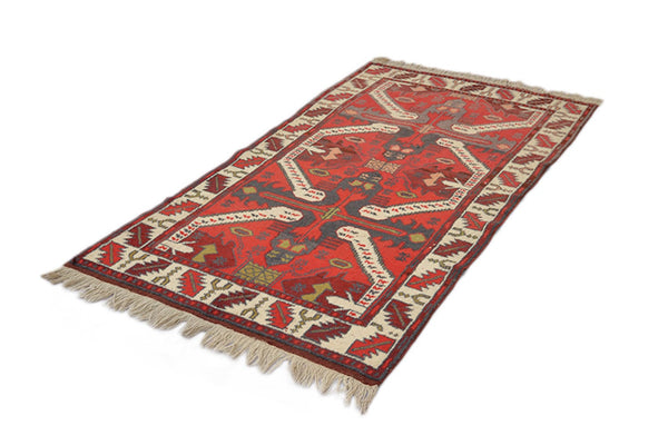 Red Orange Kazak 3x6  Vintage Area Rug | Tribal Geometric Pattern | Ikat Style Wool Rug | Hand Woven One of a Kind Rug