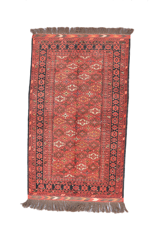 Orange Red Vintage Rug | Geometric Tribal Rug | 3 x 6 Rug | Black Border Rug | Oriental Area Rug | Wool Hand Knotted