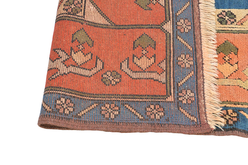 Wool Antique Coral Blue Large Rug, 8x11 feet, Tribal Geometric Medallion, Vintage Bohemian Soft Pile Rug