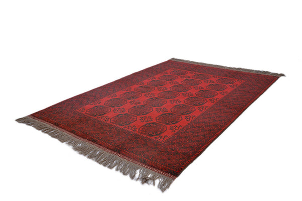 6x9 Red Oriental Low Pile Rug, Deep Bright Colored Afghan Caucasian, Antique Hand Knotted  with Wool
