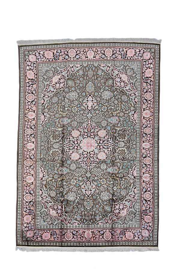 Large 8 x 11 Feet Rug, Kashmir Silk Oriental Persian Design Rug, Pink Black Blue Stunning Vintage Hand Knotted Antique