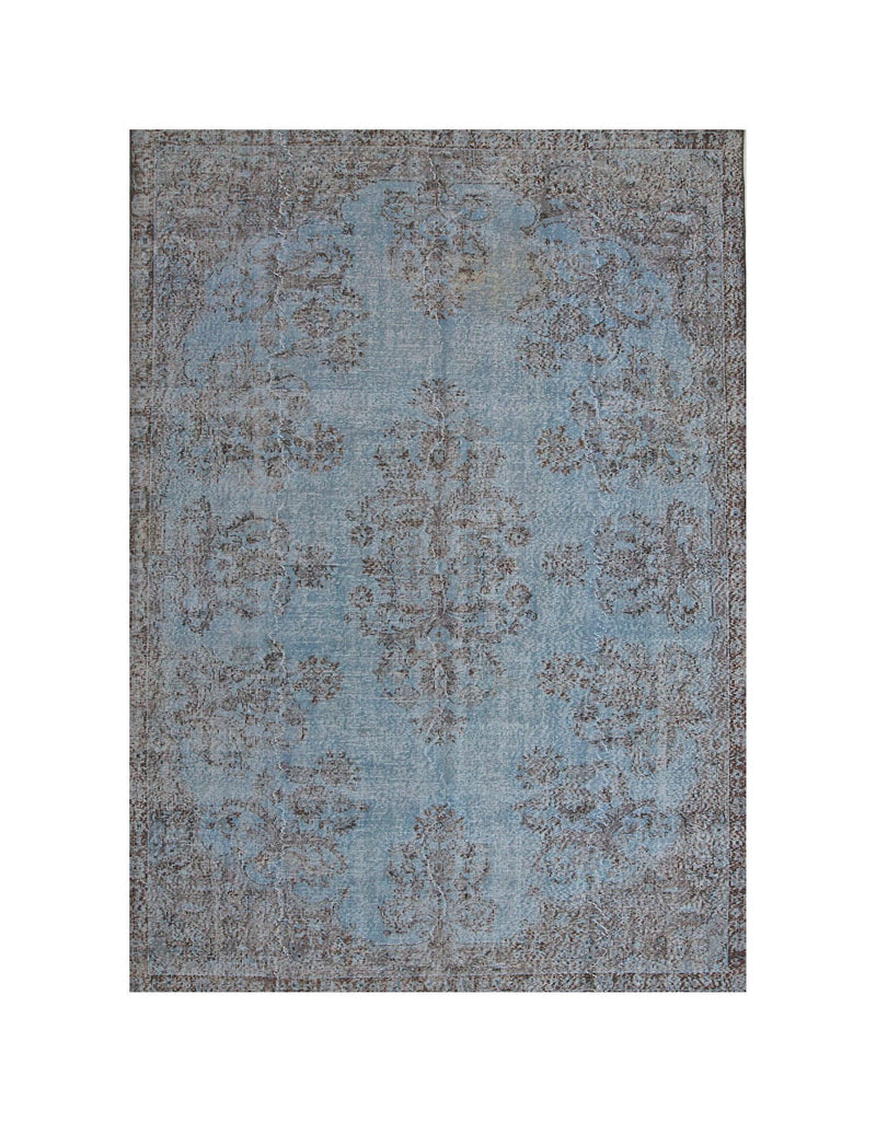 Blue Vintage Rug | Turkish Oushak Rug | 7 x 10 feet | Light Blue Rug | Shaved Turkish Rug | Oriental Rug | Contemporary Rug