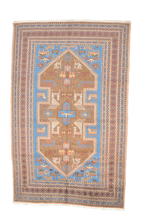 Oushak Vintage Rug | 5 x 9 Light Blue Brown Rug | Wool Geometric Tribal Rug