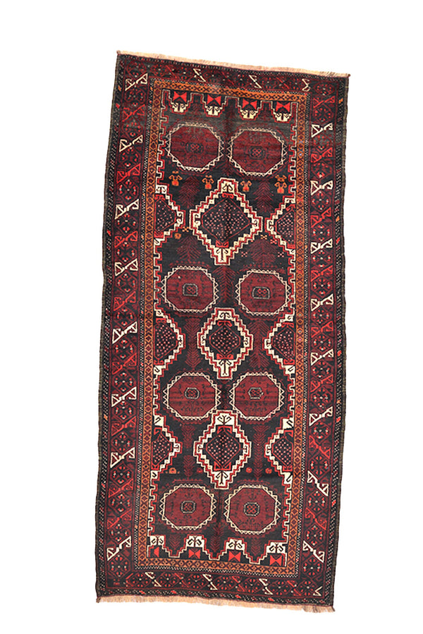 Vintage Rug 4 x 9 Dark Runner | Red Brown Hallway Runner Rug | Geometric Tribal | Wool Nomadic Hand Knotted Rug | Antique Afghan Rug