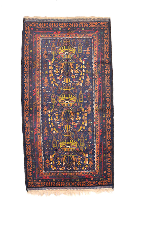 6'9 x 3'7 Ft | Vintage Blue Purple Rug | Orange Border Runner Rug | Wool Bold Dark Rug | Accent Afghan Persian Runner Rug |