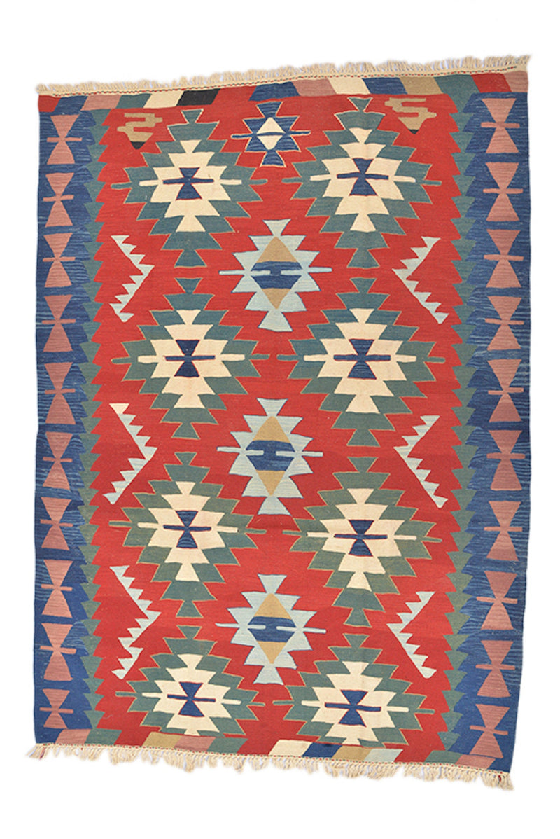 Turkish Kilim Rug | Red Blue Green | Ikat Rug | 6 x 8 Ft Rug | Low Pile Area Rug | Geometric Rug | Kids Room Rug | Wool Hand Knotted