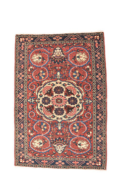 Pink Antique Rug | 4 x 6 Ft | Persian Style Rug | Floral Medallion | Wool | Bohemian Rustic Rug
