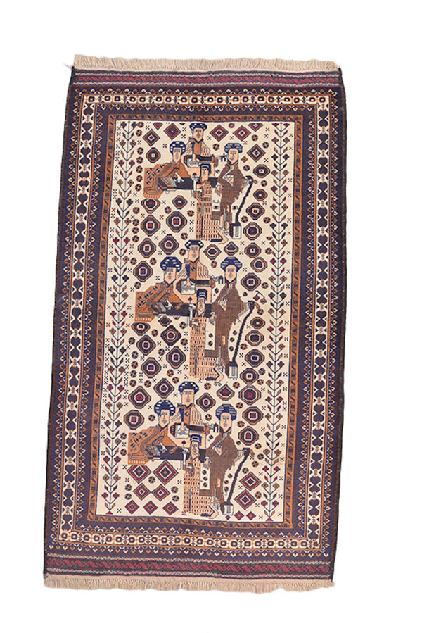 Vintage Rustic Rug | Persian Pakistan Area Rug | 6 x 8 Feet | Navy Pink Border | Hand Knotted Wool Antique Rug