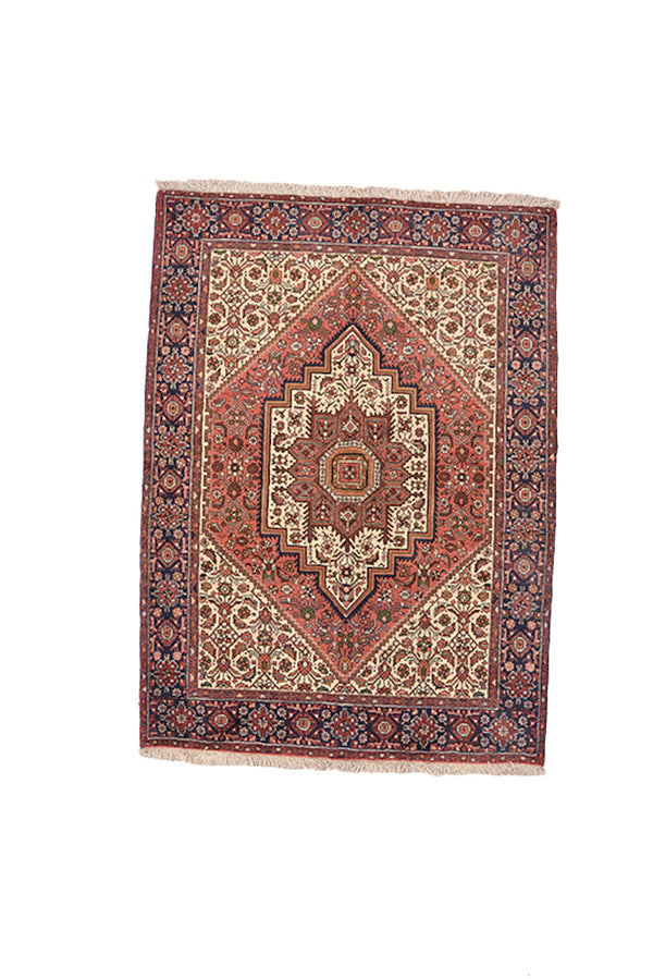 Persian Soft Colored 5x6 Vintage Area Rug | Hand Knotted Hexagon Pink Medallion | Beige Background Oriental Rug | Blue Border