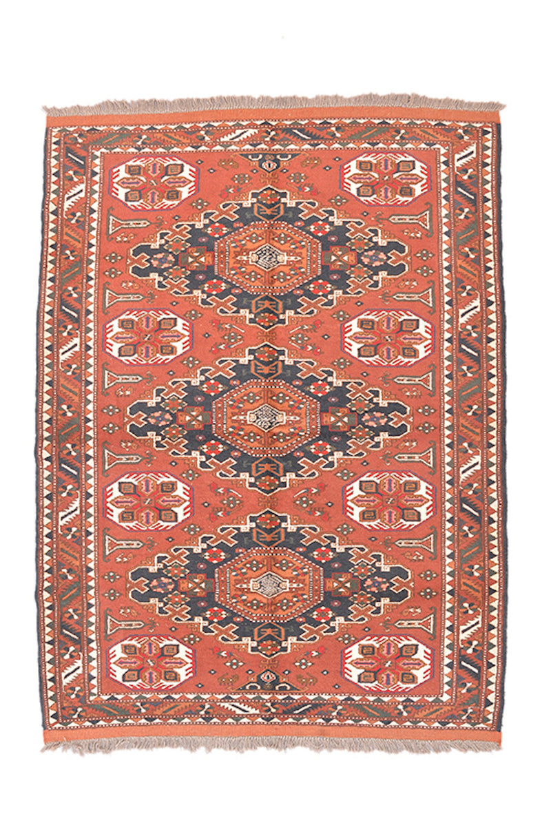 Rustic Vintage 5x6 Rug | Persian Turkish Oriental Style | Geometric Multi Medallion | Red Orange | Wool Hand Knotted Area Rug
