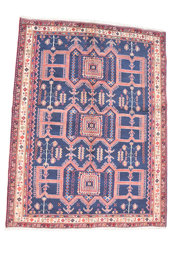 7 x 5 Feet | Blue Geometric Rug | Vintage Tribal Rug | Red Nomadic Motifs | Hand Knotted Persian Turkish Caucasian Area Rug | Antique Wool